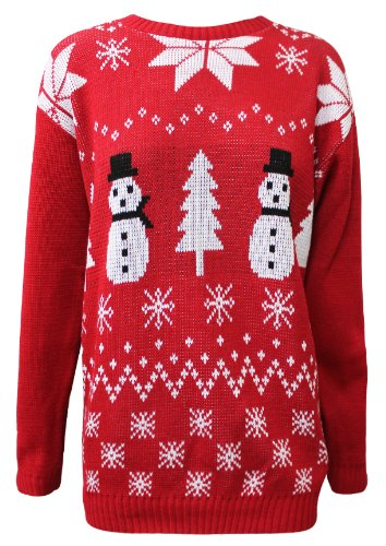 AXTokyo Mens Double Snowman Xmas Tree Jumper (Large, Red)