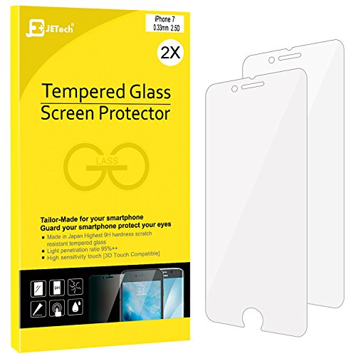 "iPhone 7 Screen Protector, JETech 2-Pack Premium Tempered Glass Screen Protector for Apple iPhone 7 4.7"" - 0980A"