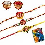 Shree Sai Unique God Krishna Colorful Mauli Swastik Rakhi Set Of 3 For Men-BRT3301