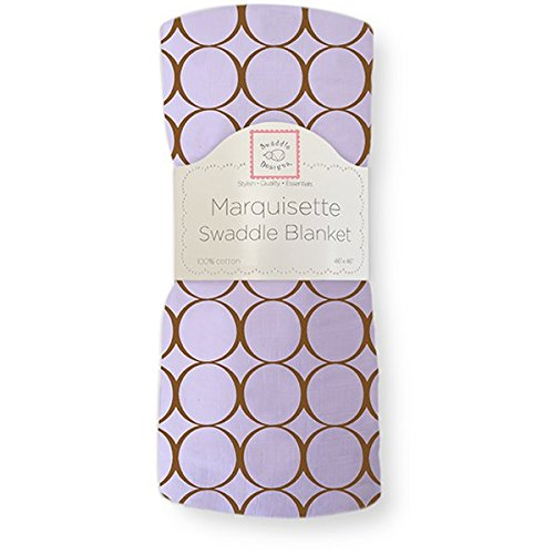 SwaddleDesigns Marquisette Swaddling Blanket, Pastel with Mocha Mod Circles, Lavender