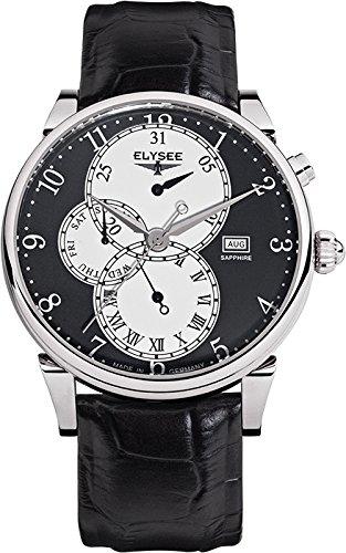 Elysee 80514 - Reloj para hombres, correa de cuero color negro