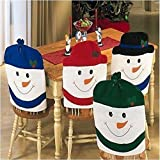 4 X SNOWMAN HAT CHAIR BACK COVERS CHRISTMAS XMAS PARTY TABLE DECORATION GIFT SET