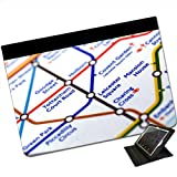Close Up Tube Map Leicester Square, London For Apple iPad Air Faux Leather Folio Presenter Case Cover Bag with Stand Capability