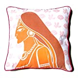 Homeblendz Cotton Printed Rajashtani Lady Design White, Rust And Brown 40x40 Cushion Cover