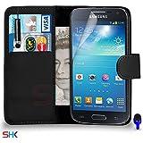 Samsung Galaxy S4 MINI Premium Leather Wallet noir flip Protecteur Ecran Housse Pouch + Mini Stylus Pen + & Chiffon PAR SHUKAN®, (Noir)