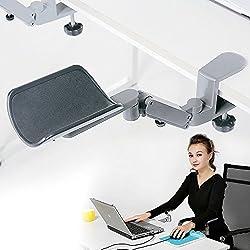 Wrist Rest - Tuned Both Horizontal and Vertical Direction - Upgrade eLink Pro Ergonomic Arm Support - Fashionable Aluminium Alloy Computer Armrest_Silver