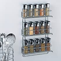 Organize It All 3-Tier Wall-Mounted Spice Rack Chrome 1812