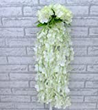 Artificial Ivy Flower Garland Plants Vine Fake Foliage Home Garden Decor (beige)