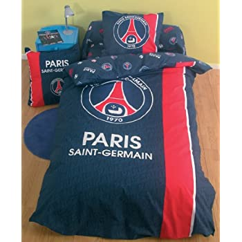 pas cher housse de couette psg football paris saint germain taille 200 x 200cm lit 2. Black Bedroom Furniture Sets. Home Design Ideas