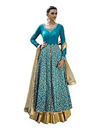 VH Fashion Blue Bhagalpuri Silk Top With Embroidered Neak And All Over At Lower Part Of Top Full Embroiderd Anarkali Suit