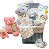 Baby of Mine Newborn Gift Basket - BLUE - Unique Baby Shower Gift Idea