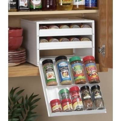 Super Spice Stack Rack - (White) Organizes 27+ spice bottles, Fits in standard kitchen cabinets
