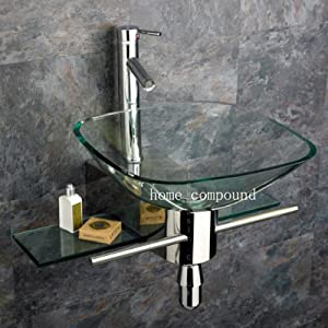 Discount modern bathroom vanities glass vessel sink combo for Cheap toilet and sink set