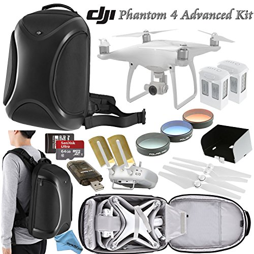 DJI Phantom 4 Advanced Bundle: Includes Spare Battery, Polar Pro Filter Kit, Antenna Range Extenders, 64GB MicroSD Card, DJI Phantom 4 Backpack and more...