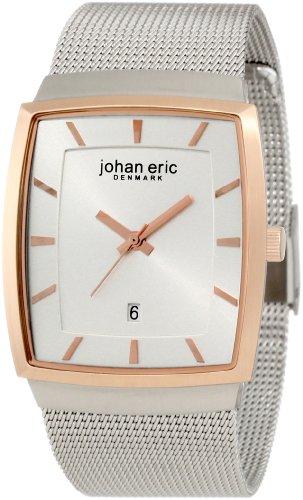 Johan Eric JE1003-04-001.2 - Reloj analógico de cuarzo para hombre con correa de acero inoxidable, color plateado