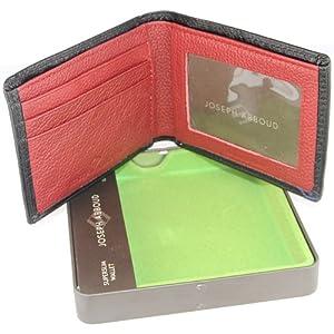 Joseph Abboud Mens Slimfold Genuine Leather Wallet Black/Red
