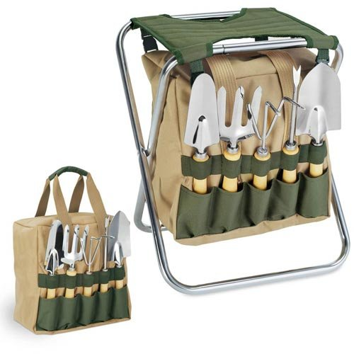 Picnic Time 5 Piece Garden Tool Set With Tote And Folding Seat 542-93-121