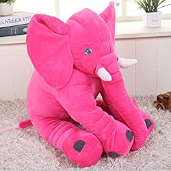 KiKi Monkey 24 inch Large Elephant Pillow Toys Baby Toddler Kids Accompany Pillows Cushions Doll Friends Children Birthday Gift Toys (Red)