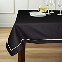 "Lushomes 6 Seater Black Table Cloth With Beige Contrasting Cord Piping (Size: 60""x90"")"