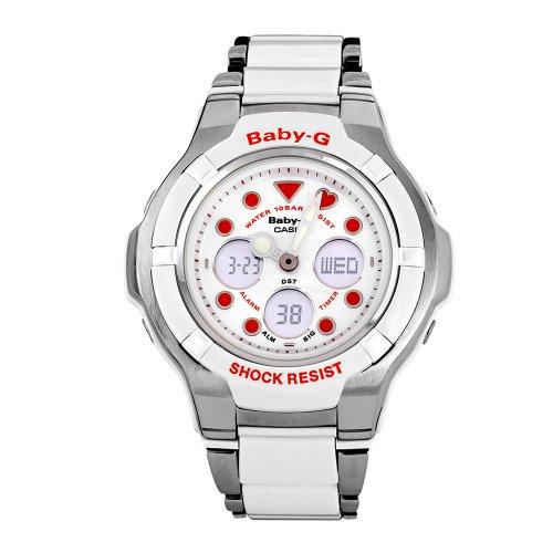 Casio Women's BGA123C-7A2 Baby-G Silver-Tone and White Link Bracelet Watch