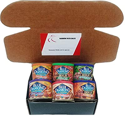 Blue Diamond Almonds Variety Pack, Care Package, or Gift Box. Includes: 6 Cans of Blue Diamond Flavored Almonds + Gift Box + Gift Card + Sanitizing Hand Wipes. Bundle of 6, 1 of Each Flavor by Blue Diamond Almonds