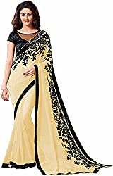 Fableela Women's Chiffon Saree with Blouse Piece (Beige)