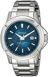 Armitron Men's 20/5072NVSV Date Function Silver-Tone Bracelet Watch