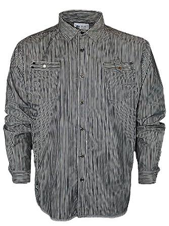 New Mens Black Kam Jeans KBS6007 Designer Striped Shirt Size 5XL