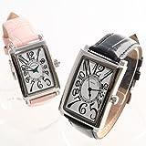 ReiZ 牛革ペアウォッチ/腕時計(2個セット) #MEN:ホワイト×ブラック #LADY:ピンク WATL-0043x2