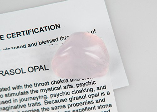 Fundamental Rockhound Products: Pink Girasol Opal Tumbled Stone gemstone crystal with carrying pouch, info card, stone certification (1 medium) (Opal Crystal Wand compare prices)