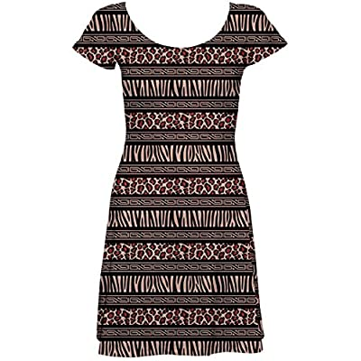 Black African Style Pattern with Animals Skins Short Sleeve Skater Dress