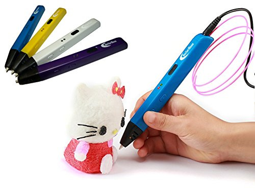 VectorMoon Stereoscopic 3D Printing Pen for 3D Drawing and Doodling - Kids and Adults - 1.75mm ABS/PLA Filament (Blue)