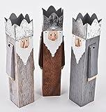 Heilige drei Könige 3er Set Figuren Holz braun grau Weihnachtsdeko Xmas (28x8x6cm)