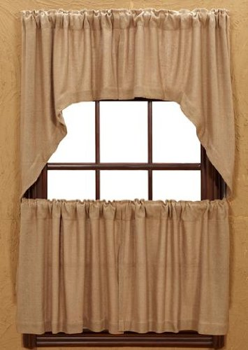 "Burlap Natural Cotton Window Swags (Set of 2) 36x36x16"" EA"