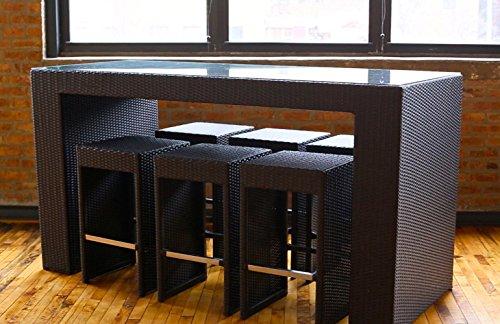 Margarita Outdoor Wicker Patio Furniture High Top Bistro Dining Set in Brown Wicker
