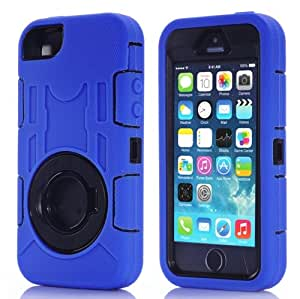 Shockproof Silicone + Hard Plastic Combination Case with Ring Holder for iPhone 5 & 5S (Dark Blue)