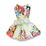 HOMEDECO Pet Dog Floral Bowkont Dress Wedding Shirt Party Clothes Summer Costume