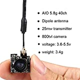 Micro AIO FPV Camera 5.8G 40CH 25MW VTX 800TVL 5.8ghz 150° Wide Angle for Indoor FPV Quadcopter Drone Like Blade Inductrix Tiny Whoop etc (Tamaño: 5.8G AIO 800TVL)