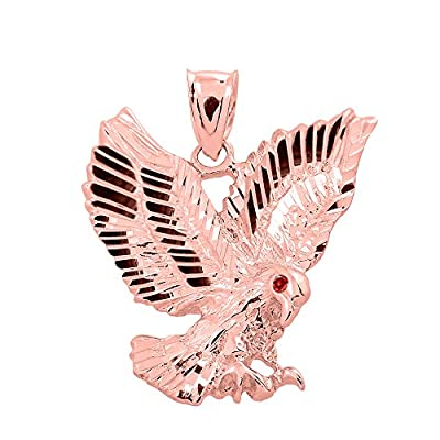 High Polish 14k Yellow Gold Landing Eagle Necklace Pendant