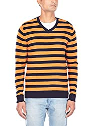 Flying Machine Mens V-Neck Wool Blend Sweater (FMSW0221_Orange_XL)