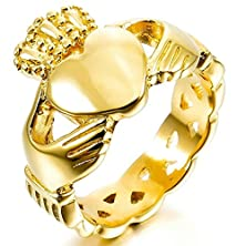 buy Moandy Jewelry Mens Stainless Steel Rings Gold Irish Celtic Knot Irish Claddagh Friendship Love Heart Crown Size 9