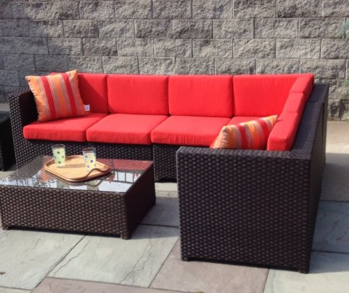 Outdoor Sectional Patio Wicker Sectional Sofa, Garden Patio Set, and Rectangular Coffee Table, Sunbrella Fabric