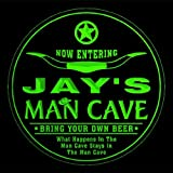 4x ccpb0152-g JAY'S Man Cave Cowboys Bar Beer Drink Etched Engraved 3D Coasters