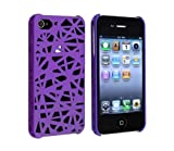 NiceEshop(TM) Purple Interwove Line Bird's Nest style slim Snap on Hard cover case fit for iphone 4 4G 4S+Free Screen Protector +Free niceEshop Cable Tie