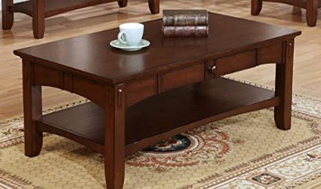 Bright Dark Brown Wood Accent Coffee Table by Poundex