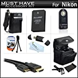Must Have Accessories Kit For Nikon 1 J1, Nikon 1 J2, Nikon 1 AW1 Mirrorles Digital Camera Includes Extended (1200Mah) Replacement EN-EL20 Battery + Ac/DC Travel Charger + Mini HDMI Cable + Wireless Remote Control (Replaces ML-L3) + Case + More