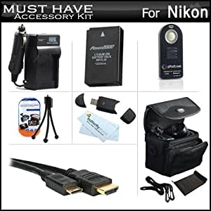 Must Have Accessories Kit For Nikon 1 J1, Nikon 1 J2 Nikon 1 AW1 Mirrorles Digital Camera Includes Replacement EN-EL20 Battery + Ac/DC Charger + Mini HDMI Cable + Wireless Remote Control + Case + More