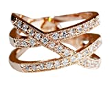 FASHION PLAZA 18K Gold Finish Triple Row Cubic Zirconia Crossover Ring (Available In Sizes K N P) R285-K