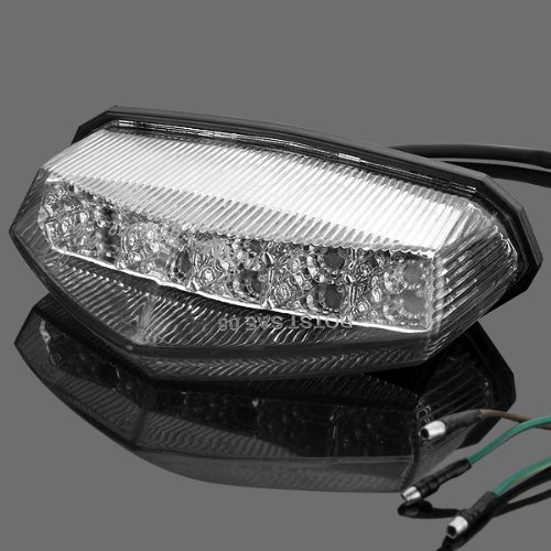 1x Crystal Clear LED Integrated Running Stop Brake Tail Light for KTM Suzuki Yamaha YFZ WR XT Benshee Warrior Dual Sport Motocross ATV (Yamaha 450 Yfz Accessories compare prices)