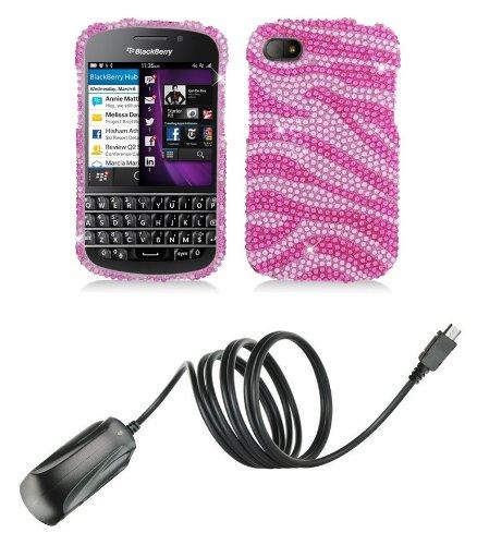 Blackberry Q10 - Premium Accessory Kit - Pink Zebra Stripes Diamond Bling Case + Atom Led Keychain Light + Micro Usb Wall Charger